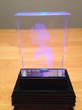 Marilyn Monroe Glass Figure That Sits On LED Light Pedestal With Pink Box