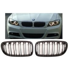 BMW 3 series E90 E91 LCI 2008> matt matte black front grilles grille twin slats