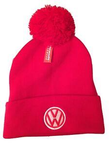 Volkswagen Beanie Bobble Wooley Beanie Hat Red