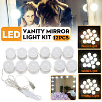 12x USB Hollywood LED Vanity Mirror Makeup Dressing Table Dimmable Light