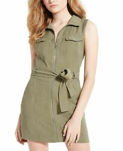 Guess Women's Shirt Dress Green Size Large L Utility Cargo Belted $108 #304