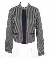 Isaac Mizrahi Target Jacket XL Gray Stripe Crop Blazer Cotton Poly Stretch NWOT