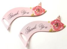 50 THANK YOU GIFT TAGS 6.5cm-WEDDING FAVOUR TAG-FLORAL/FLOWER PINK-DOUBLE SIDED