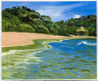 Beach, Bay and Palapa In Huatulco Mexico Landscape Impressionism artist original