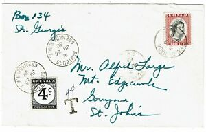 Grenada 1962 GPO cancel on internal cover, postage due affixed