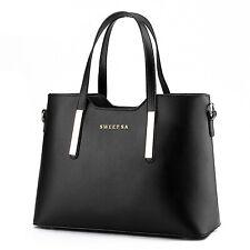 Schwarz Damentasche Leder Shopper Tasche Handtasche Schultertasche Frauentasche