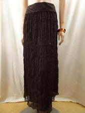 MARKS & SPENCER Brown Embroidered Skirt Sz 12