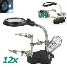 2 Helping Clips LED Light Magnifier Desk Table Lamp 3.5X 12X Magnifying Lens GD
