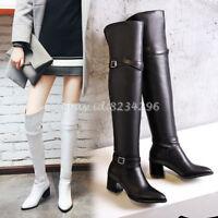 Fashion Overkneestiefel Damen Schnalle Stiefel Spitz Boots PU-Leder Schuhe Gr48