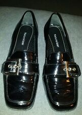 wonderful pair of NATURALIZER black patent leather silver buckle loafers 7M EPOC