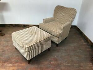 TAUPE AND CREAM  ARMCHAIR AND LARGE FOOT STOOL / POLKA DOT / TEXTURED FABRIC