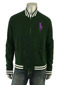 Polo Ralph Lauren Green Big Pony Fleece Varsity Baseball Jacket S New $145