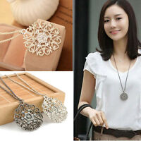 Long Chain Sweater Necklace Womens Elegant Rhinestone Hollow Round Pendant