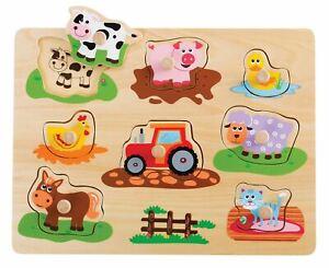 Lelin Wooden Farm Animals Peg Puzzles Toy Montessori Jigsaw Puzzle Board