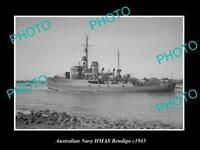 OLD POSTCARD SIZE AUSTRALIAN NAVY PHOTO OF THE HMAS BENDIGO SHIP c1945