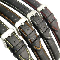 Padded Alligator Grain Leather Watch Strap Band Colored Contrast Stitching C027