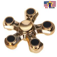 Five Arm Sides Quinary Gold Flower Metal Fidget Spinner Ball Fast and Long Spin