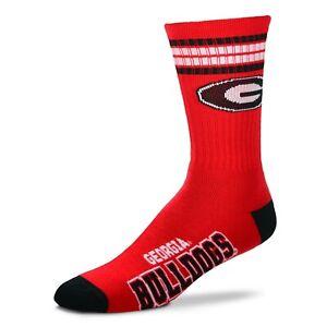 Georgia Bulldogs Bulldogs Crew Socks Medium Size 5 to 10 4 Stripe