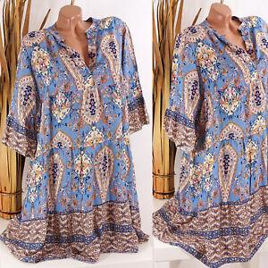 Italy 38 40 42 44 jeans blau Tunika Kleid Hippie Boho Hängerchen Damen oversize