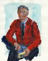 """Abstract Mr. Rogers Red Sweater Contemporary Portrait Pop Wall Art Print 11x14"""""""
