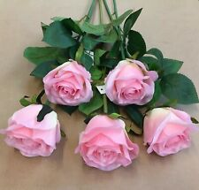 Artificial Silk Flowers- 5 Single Long Stem Roses Baby Pink Wedding Home Grave