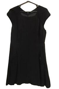Portmans Black Fit Flare Dress Size 14 Pocket Detail