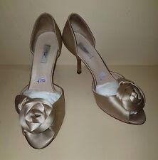 Prada Nude Satin Heels Shoes Women Used Pre Owned Wedding Ladies Size 3.5 36.5