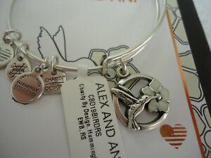 Alex and Ani HUMMINGBIRD II Russian Silver Charm Bangle New W/Tag Card & Box