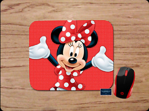 MINNIE MOUSE RED POLKA DOT CUSTOM PC MOUSE PAD DESK MAT HOME SCHOOL OFFICE GIFT
