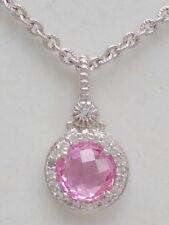 "NEW $250 Judith Ripka La Petite Necklace 17"" Sapphires Pink Corundum Silver"