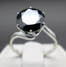 4.02cts 10.72mm Real Natural Black Diamond Size 7 Ring & $2210 Value