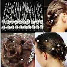 10Pcs Bridal Wedding Bridesmaid Prom Single Pearl Hair Pins Clips Accessories