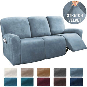 3-Seater Velvet Stretch Recliner Sofa Couch Covers Slipcover Furniture Protector