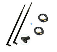 2 9dBi dual band WiFi Antennas RP-SMA + 2 Extension Cable For Belkin NBG4615