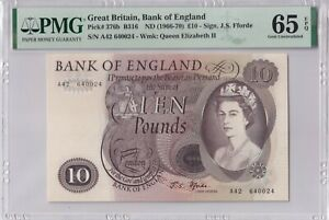Great Britain P#375b ND1966 10 pounds banknote PMG 65 Gem UNC Fforde