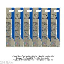 6 Parker Quink Flow Ball Point Pen Refill Blue Ink Medium Nib Fast Ship USA Sell