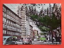 TRIESTE filovia filobus Via Carducci Fiat 600 vecchia cartolina colorata a mano