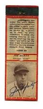 1934 Diamond Matchbook Joe Marty Signed Chicago Cubs