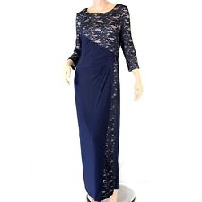 R & M Richards Navy Lace Stretch Belt Brooch Evening maxi dress Size 12