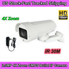 4X Optical ZOOM HD 1080P CMOS ONVIF PTZ CCTV IR Bullet IP Home Camera RJ45 Night
