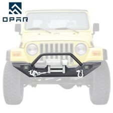 OPAR 87-06 Jeep Wrangler YJ TJ Front Bumper Guard +Winch Plate+D-Rings+Led Light