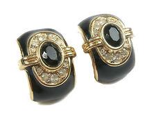 NINA RICCI - Vintage Enamel & Rhinestone Earrings - Clip On - Signed - C. 1980's