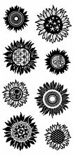 Inkadinkado Patterned SunFlowers Clear Stamp Set of 8     60-30347  NEW