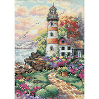 """Gold Petite Beacon At Daybreak Counted Cross Stitch Kit-5""""X7"""" 18 Count"""