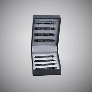 Justwhiteshirts Black Chrome Finish Stainless Steel 8 Piece Collar Stay Box Set