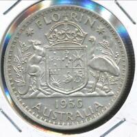 Australia, 1956 Florin, 2/-, Elizabeth II (Silver) - almost Uncirculated