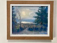 MOON Pine Trees Seashore Landscape Nocturne Original Art Oil Painting 8x10