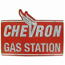 Chevron Gas Station Embossed Die Cut Metal Sign Oil Gas Parts Service Auto Shop