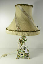 Antique porcelain table lamp figurines putti angel nude lady relief flowers