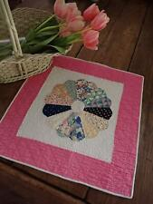 Vintage Pink Dresden Plate Applique Table Doll Quilt 18x18